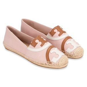 Tory Burch Poppy Espadrille Canvas Leather Flats